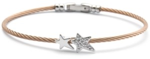 Charriol White Topaz Cable Bangle Bracelet (1/10 ct. t.w.) in Stainless Steel & Rose Gold-Tone Pvd