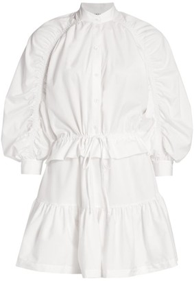 Frame Ruched Sleeve Poplin Mini Dress