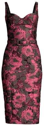 Michael Kors Belted Floral Stretch Jacquard Sheath Dress