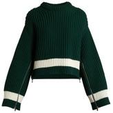Alexander McQueen Zip-sleeved Step-hem Wool-blend Sweater - Womens - Green White
