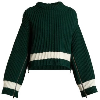 Alexander McQueen Zip-sleeved Step-hem Wool-blend Sweater - Green White