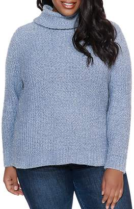 Belldini Plus Metallic Chenille Turtleneck Sweater