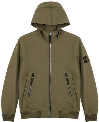 Stone Island Army Green Hooded Stretch-shell Jacket