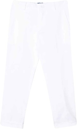 Fay White Teen Trousers With Lapels