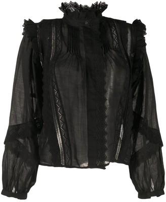 Frame Natalie frilled long-sleeved blouse