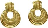 One Kings Lane Vintage Karl Lagerfeld Textured Knocker Earrings - Wisteria Antiques Etc - gold