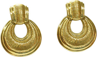 One Kings Lane Vintage Karl Lagerfeld Textured Knocker Earrings - Wisteria Antiques Etc