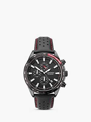 Sekonda 1787 Men's Chronograph Date Leather Strap Watch, Black
