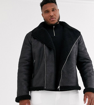 Asos Design DESIGN Plus faux shearling biker jacket with teddy lining in black