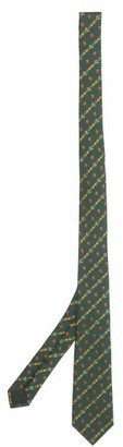 Gucci GG, Strawberry And Pineapple Silk-jacquard Tie - Green