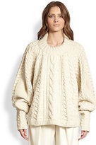 The Row Wool & Cashmere Cable-Knit Blouson Sweater