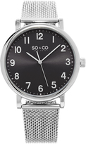 Silver & Black Mesh Bracelet Watch