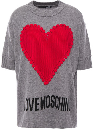 Love Moschino Crochet-appliqued Intarsia-knit Top