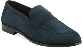 Giorgio Armani Men's Calf Suede Penny Loafer Shoe