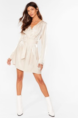 Nasty Gal Womens Shimmer on Over Belted Mini Dress - Champagne