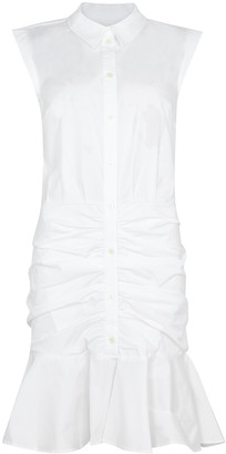 Veronica Beard White ruched stretch-cotton dress