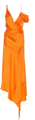Jonathan Simkhai Asymmetric Satin Midi Dress