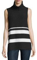 Neiman Marcus Cashmere Chain-Trim Striped Sleeveless Turtleneck