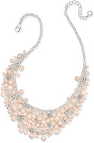 Charter Club Silver-Tone Imitation Pink Pearl and Crystal Cluster Collar Necklace, Created for Macy's