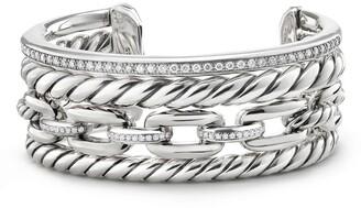 David Yurman Wellesley Link Cuff with Diamonds, 27mm