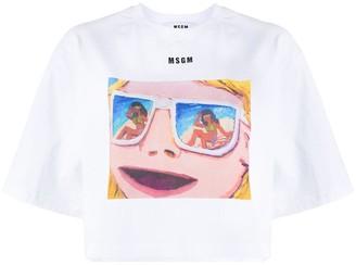 MSGM graphic print cropped T-shirt