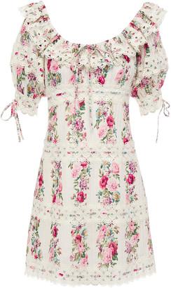 Zimmermann Honour Crochet-trimmed Pintucked Floral-print Cotton Mini Dress