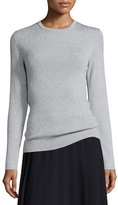 MICHAEL Michael Kors Metallic Ribbed Crewneck Sweater, Pearl Heather