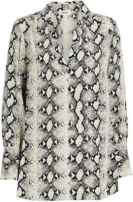 L'Agence Braydon Python-Printed Silk Tunic
