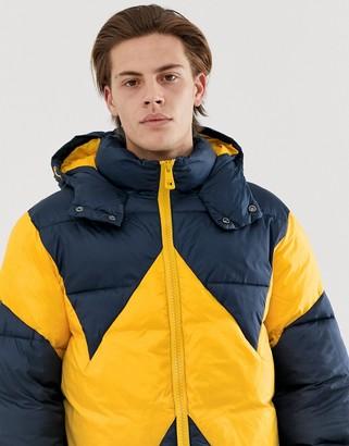 Wrangler blue & yellow puffer jacket-Navy