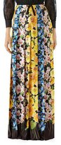 Gucci Florage Print Satin Pleated Maxi Skirt