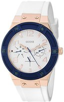 GUESS Women's U0564L1 Sporty Rose Gold-Tone Stainless Steel Watch with Multi-function Dial and White Strap Buckle
