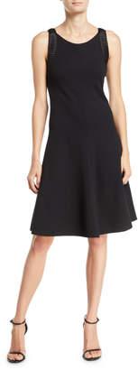 Emporio Armani Sleeveless Fit & Flare Dress w/ Pleated-Satin Trim