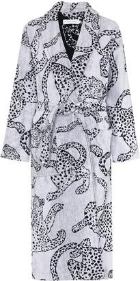 Desmond & Dempsey Jaguar-Print Cotton Robe