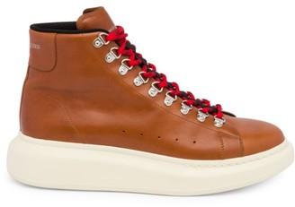Alexander McQueen Men's High-Top Leather Platform Sneakers
