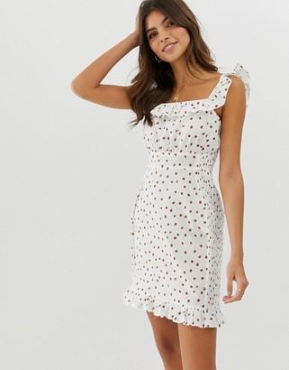 Asos Design DESIGN shirred mini sundress with frill in polka dot-Multi