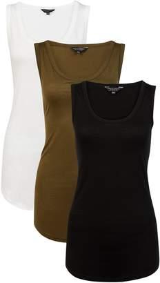 Dorothy Perkins Womens 3 Pack Black, White And Khaki Viscose Vest
