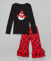 Beary Basics Black Snowman Tee & Red Ruffle Pants - Infant Toddler & Girls