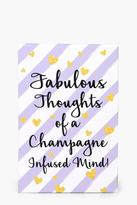 Boohoo Champagne Fuelled Notebook & Pen lilac