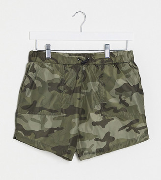 Brave Soul Tall utility shorts co-ord in khaki camo