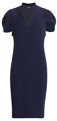 Badgley Mischka Woven Cape Dress