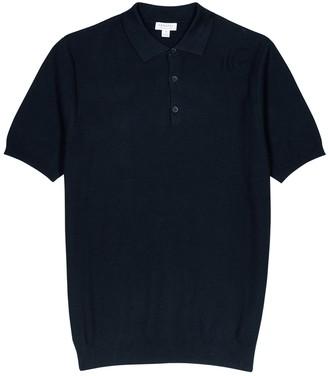 Sunspel Green fine-knit cotton polo shirt