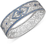 Macy's Sterling Silver Bracelet, Sapphire (3-3/4 ct. t.w.) and Diamond (1/4 ct. t.w.) Heart Bangle