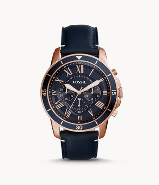 Fossil Grant Sport Chronograph Blue Leather Watch Jewelry