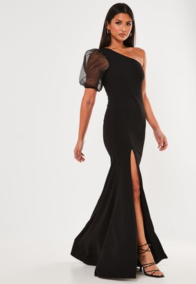 Missguided Black Organza One Shoulder Maxi Dress