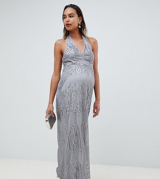 TFNC Maternity sequin maxi dress with open back in silver