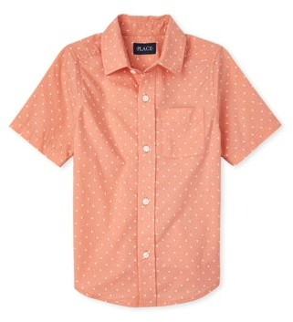 The Children's Place Boys Short Sleeve Tropical Paradise Print Button Down Pocket Poplin, Sizes 4-16