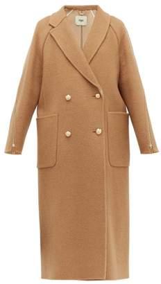 Fendi Zip Panel Camel Hair Coat - Womens - Brown Multi