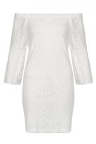 Quiz Cream Lace Bardot Frill Tunic Dress