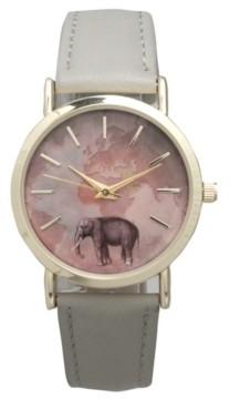 Olivia Pratt Elephant Map Leather Strap Watch