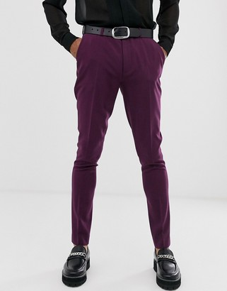 ASOS DESIGN wedding super skinny suit trousers in purple
